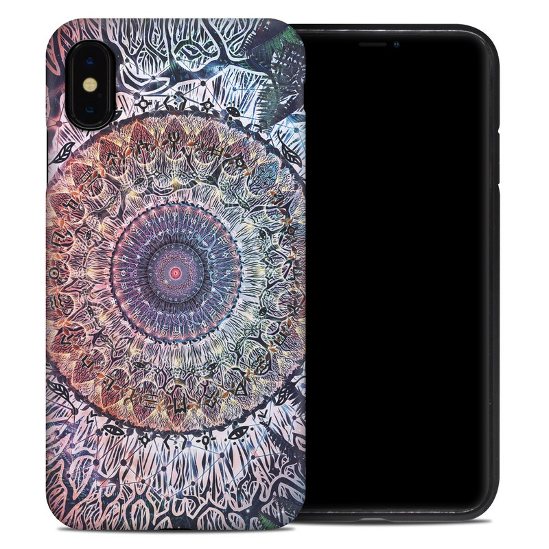 iPhone XS Max Hybrid Case design of Tapestry, Pattern, Art, Close-up, Circle, Fractal art, Textile, Eye, Design, Kaleidoscope with blue, red, yellow, purple, green colors