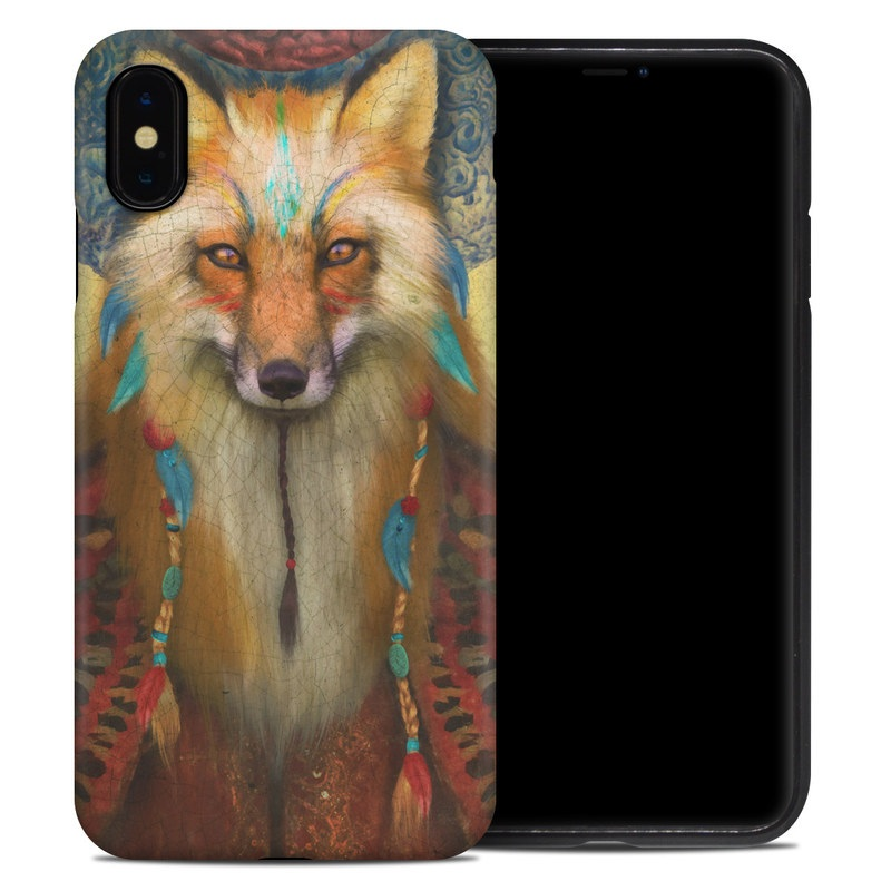 iPhone XS Max Hybrid Case design of Red fox, Canidae, Fox, Wildlife, Swift fox, Carnivore, Jackal, Fur, Snout, Art with red, black, gray, green, blue colors