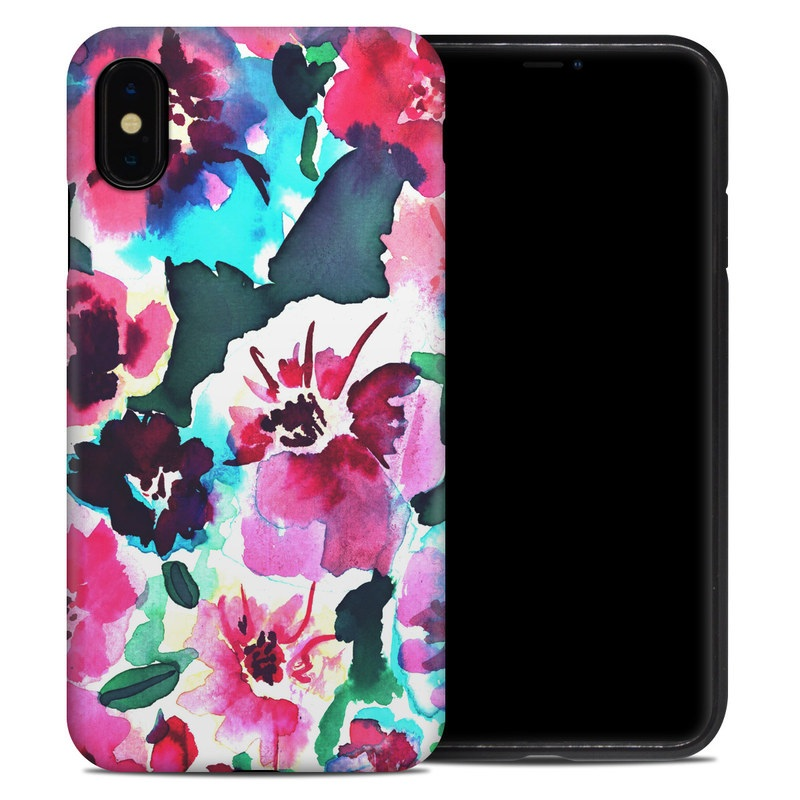 iPhone XS Max Hybrid Case design of Flower, Pink, Petal, Plant, Pattern, Hawaiian hibiscus, Design, Magenta, Flowering plant, Watercolor paint with white, pink, blue, green, red colors