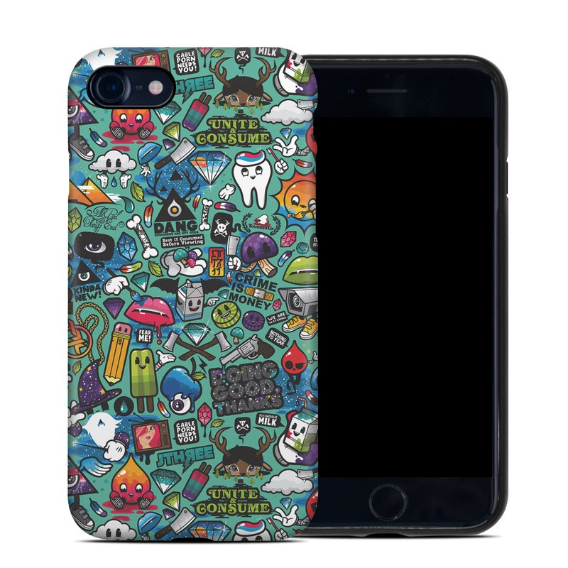 iPhone SE Hybrid Case design of Cartoon, Art, Pattern, Design, Illustration, Visual arts, Doodle, Psychedelic art with black, blue, gray, red, green colors