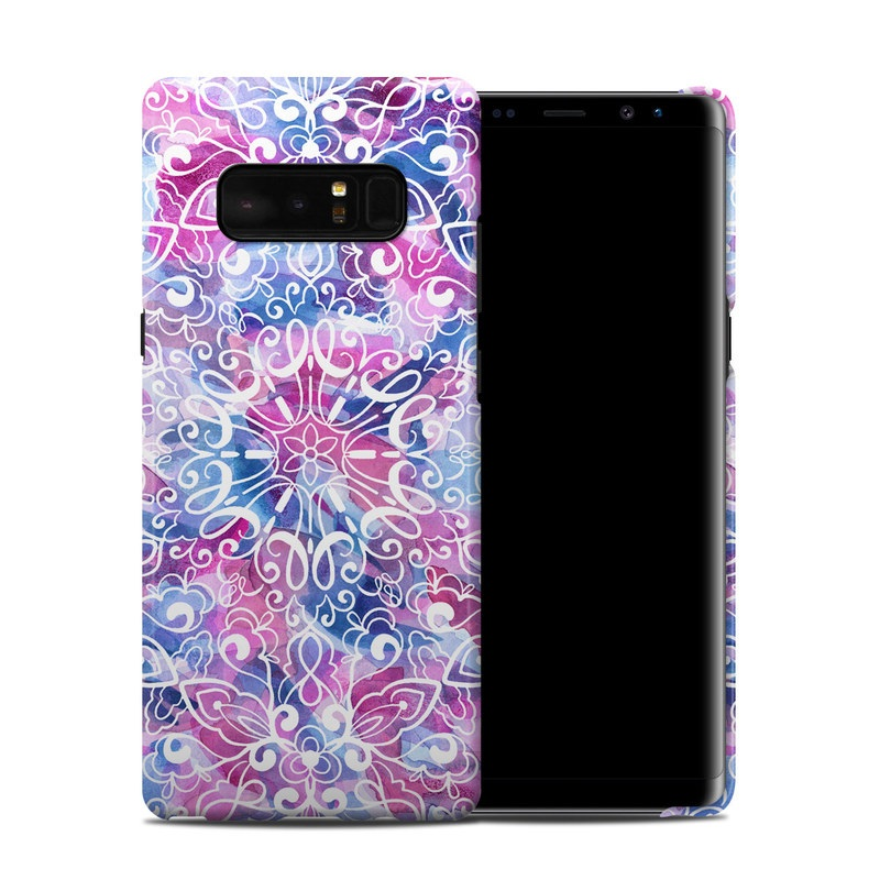 Samsung Galaxy Note 8 Clip Case design of Pattern, Pink, Lilac, Design, Textile, Visual arts, Motif, Floral design, Plant with blue, pink, purple, white colors