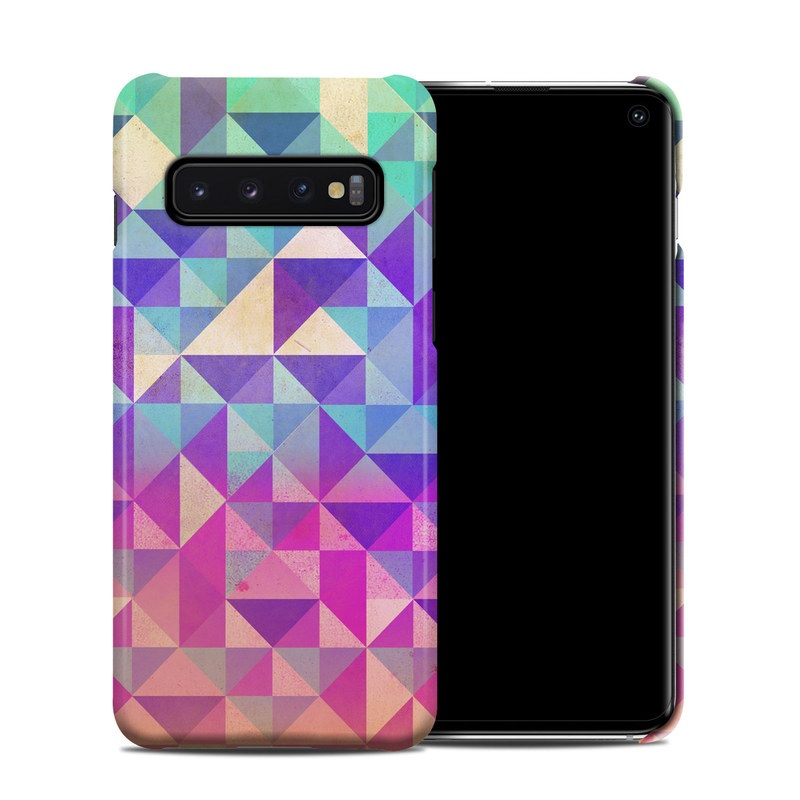 Samsung Galaxy S10 Clip Case design of Pattern, Purple, Triangle, Violet, Magenta, Line, Design, Symmetry, Psychedelic art with gray, purple, green, blue, pink colors