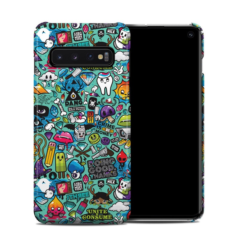 Samsung Galaxy S10 Clip Case design of Cartoon, Art, Pattern, Design, Illustration, Visual arts, Doodle, Psychedelic art with black, blue, gray, red, green colors