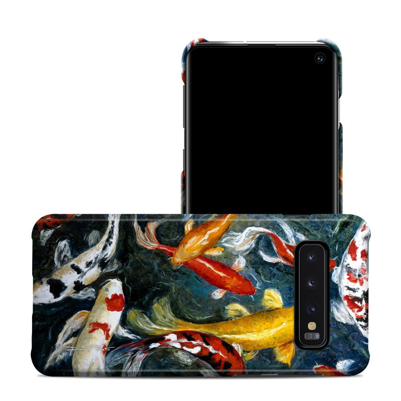 Samsung Galaxy S10 Clip Case design of Koi, Fish pond, Pond, Feeder fish, Fish, Painting, Art, Carp, Tail with black, gray, green, red, blue colors