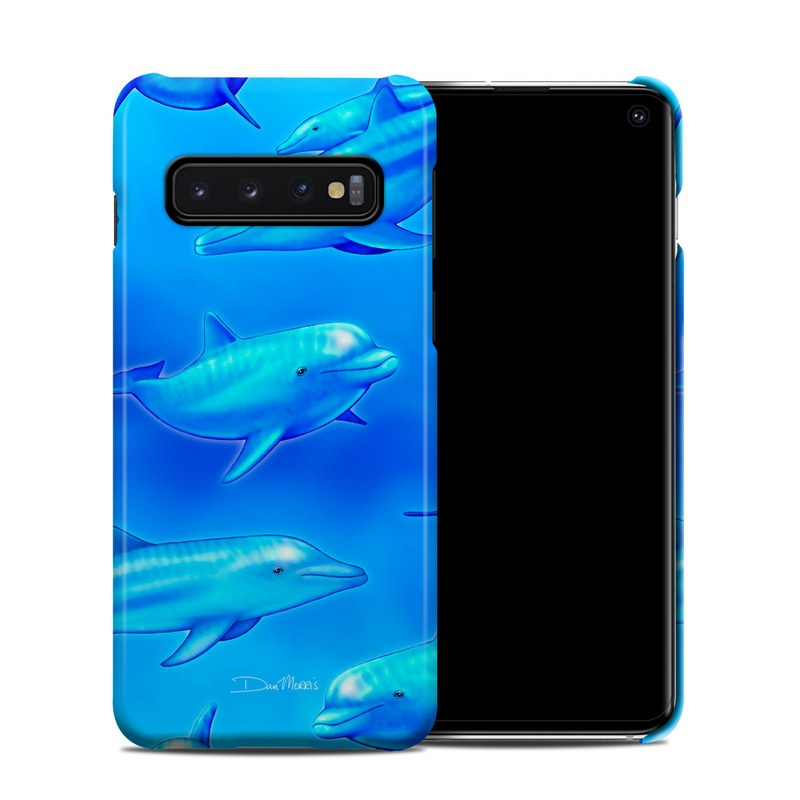 Samsung Galaxy S10 Clip Case design of Fin, Marine biology, Fish, Cobalt blue, Blue, Underwater, Marine mammal, Dolphin, Electric blue with blue colors