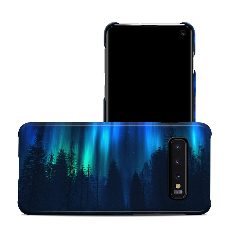 Samsung Galaxy S10 Clip Case design of Blue, Light, Natural environment, Tree, Sky, Forest, Darkness, Aurora, Night, Electric blue with black, blue colors