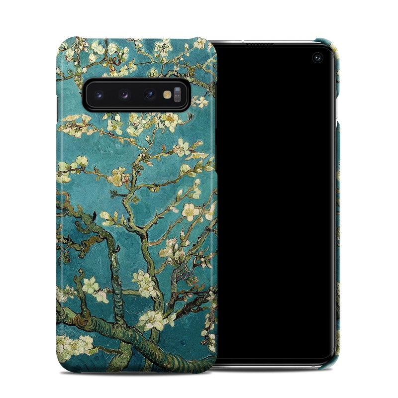 Samsung Galaxy S10 Clip Case design of Tree, Branch, Plant, Flower, Blossom, Spring, Woody plant, Perennial plant with blue, black, gray, green colors