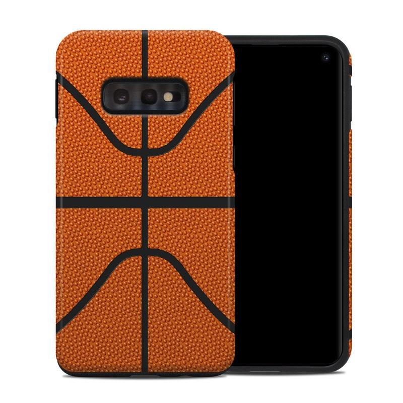 Samsung Galaxy S10e Hybrid Case design of Orange, Basketball, Line, Pattern, Sport venue, Brown, Yellow, Design, Net, Team sport with orange, black colors