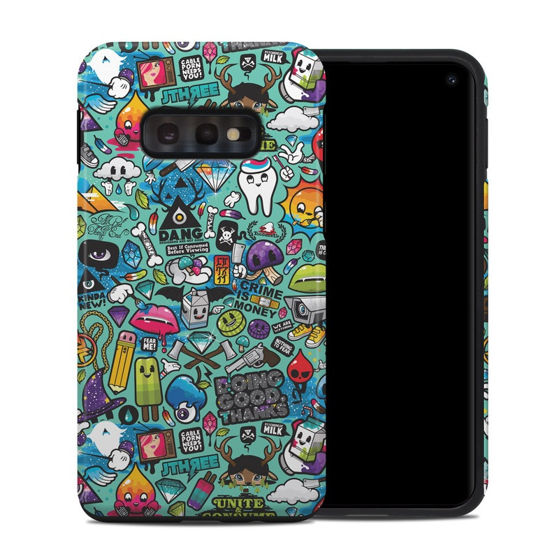 Samsung Galaxy S10e Hybrid Case design of Cartoon, Art, Pattern, Design, Illustration, Visual arts, Doodle, Psychedelic art with black, blue, gray, red, green colors
