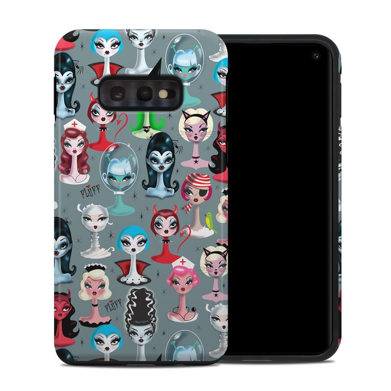 Samsung Galaxy S10e Hybrid Case design of Facial expression, Head, Design, Collection, Fictional character, Pattern, Skull, Illustration, Collage, Style with gray, white, red, blue, green, black, pink, purple colors