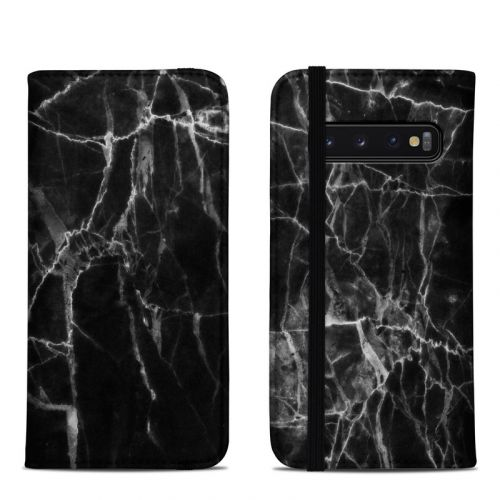 Black Marble Samsung Galaxy S10 Folio Case