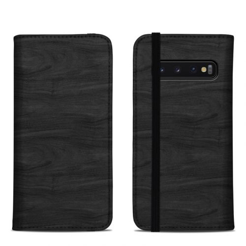 Black Woodgrain Samsung Galaxy S10 Folio Case