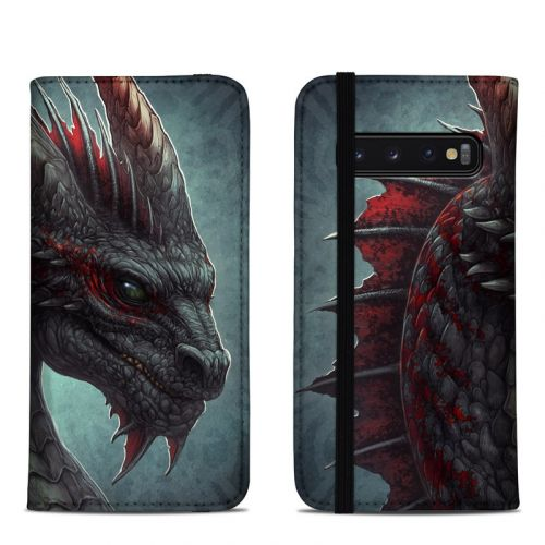 Black Dragon Samsung Galaxy S10 Folio Case