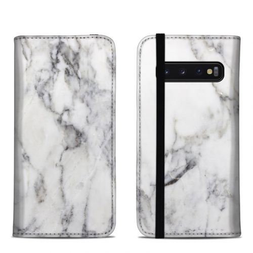 White Marble Samsung Galaxy S10 Folio Case