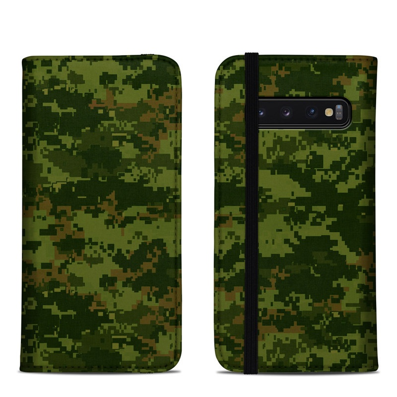 Samsung Galaxy S10 Folio Case design of Military camouflage, Green, Pattern, Uniform, Camouflage, Clothing, Design, Leaf, Plant with green, brown colors