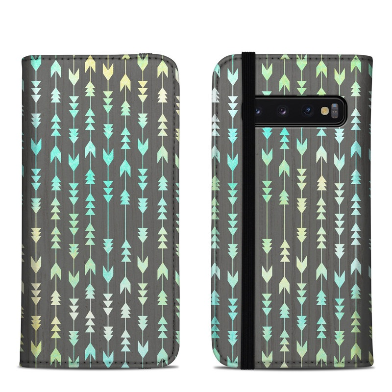 Samsung Galaxy S10 Folio Case design of Pattern, Turquoise, Aqua, Blue, Green, Teal, Design, Line with gray, blue, yellow, green colors