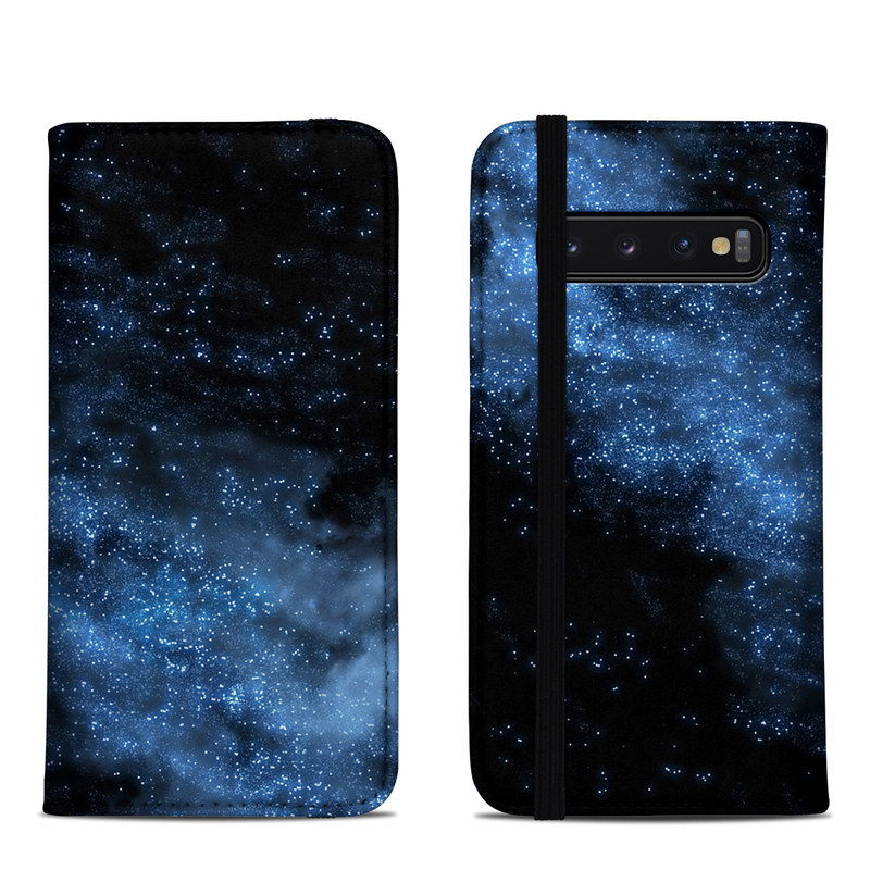 Samsung Galaxy S10 Folio Case design of Sky, Atmosphere, Black, Blue, Outer space, Atmospheric phenomenon, Astronomical object, Darkness, Universe, Space with black, blue colors