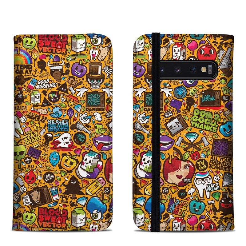 Samsung Galaxy S10 Folio Case design of Pattern, Psychedelic art, Visual arts, Art, Design, Illustration, Graphic design, Doodle with black, green, red, gray, orange, blue colors