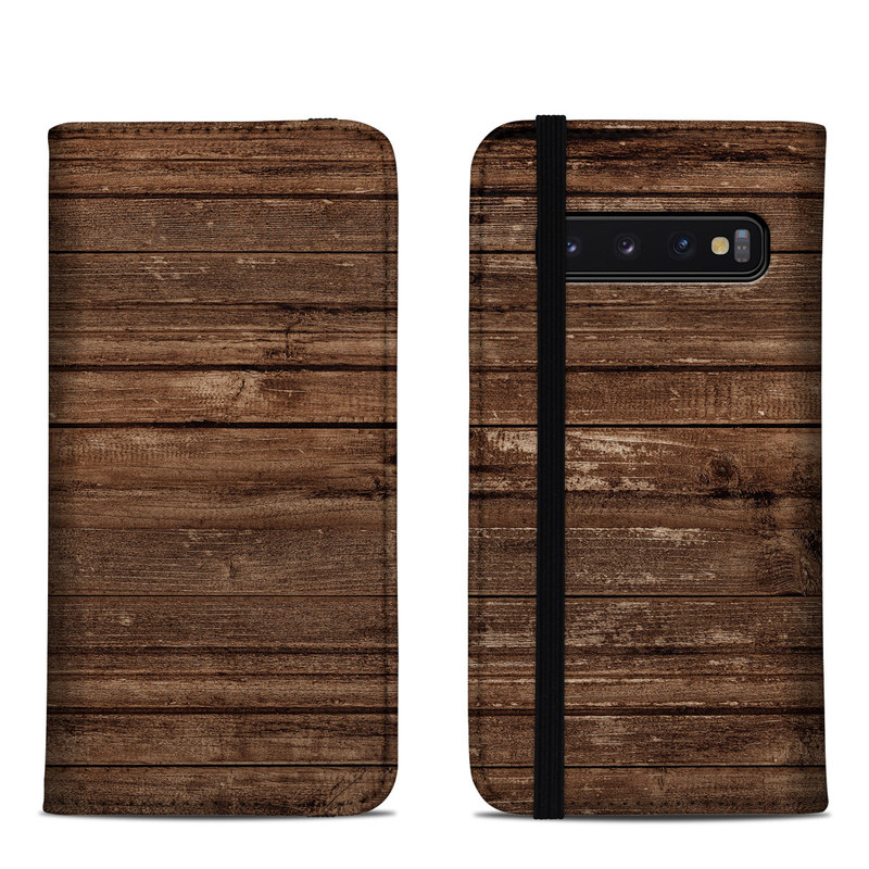 Samsung Galaxy S10 Folio Case design of Wood, Brown, Wood stain, Plank, Hardwood, Wood flooring, Line, Pattern, Floor, Flooring with brown colors