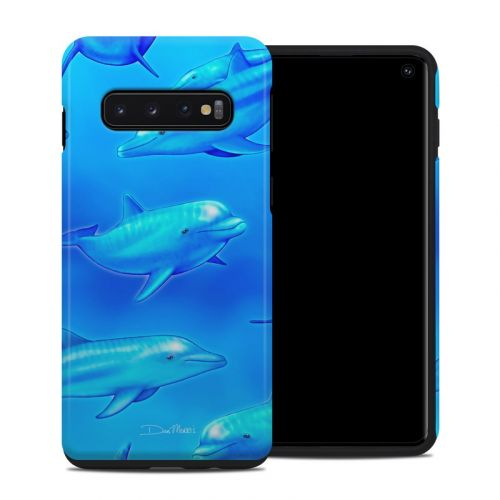 Swimming Dolphins Samsung Galaxy S10 Hybrid Case