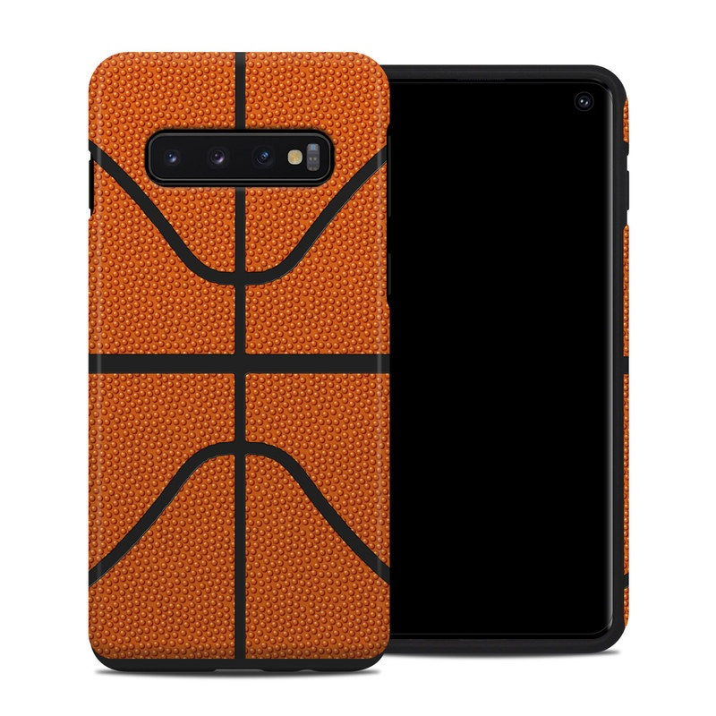 Samsung Galaxy S10 Hybrid Case design of Orange, Basketball, Line, Pattern, Sport venue, Brown, Yellow, Design, Net, Team sport with orange, black colors