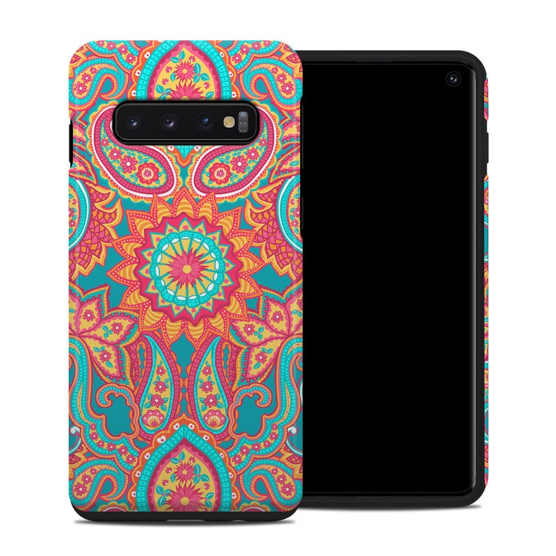 Samsung Galaxy S10 Hybrid Case design of Pattern, Paisley, Motif, Visual arts, Design, Art, Textile, Psychedelic art with orange, yellow, blue, red colors