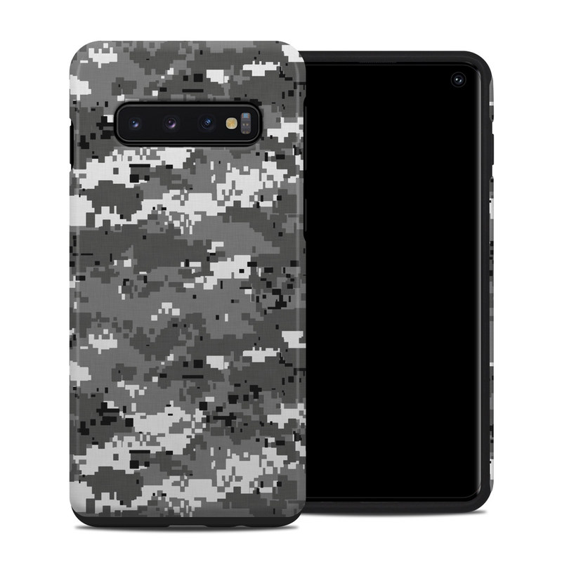 Samsung Galaxy S10 Hybrid Case design of Military camouflage, Pattern, Camouflage, Design, Uniform, Metal, Black-and-white with black, gray colors