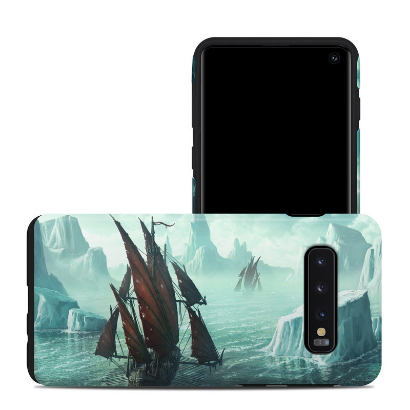 Samsung Galaxy S10 Hybrid Case design of Cg artwork, Vehicle, Ghost ship, Manila galleon, Fluyt, Adventure game, First-rate, Sailing ship, Mythology, Strategy video game with gray, black, blue, green, white colors