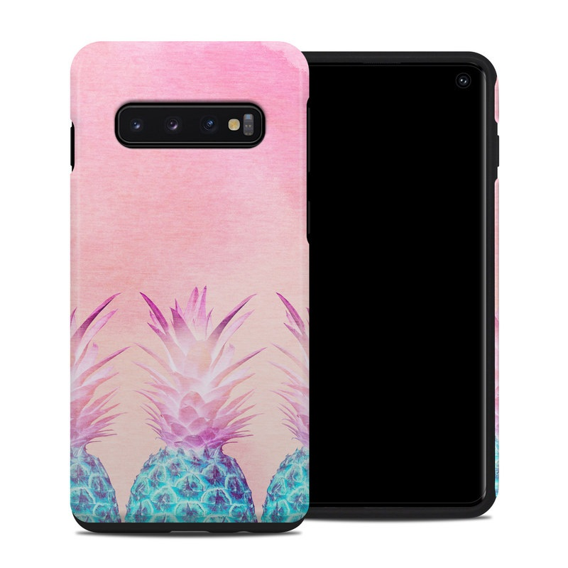 Samsung Galaxy S10 Hybrid Case design of Pineapple, Ananas, Pink, Fruit, Plant, Bromeliaceae, Pattern, Poales with pink, blue, orange colors