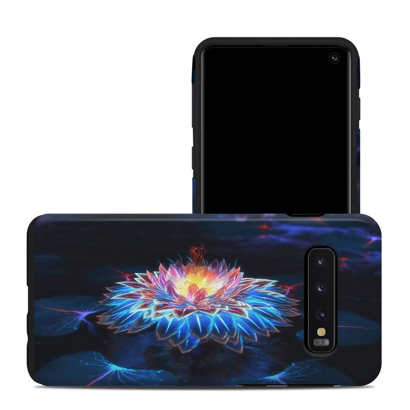 Samsung Galaxy S10 Hybrid Case design of Water, Light, Fractal art, Organism, Electric blue, Aquatic plant, Darkness, Plant, Art, Space with black, blue, gray colors