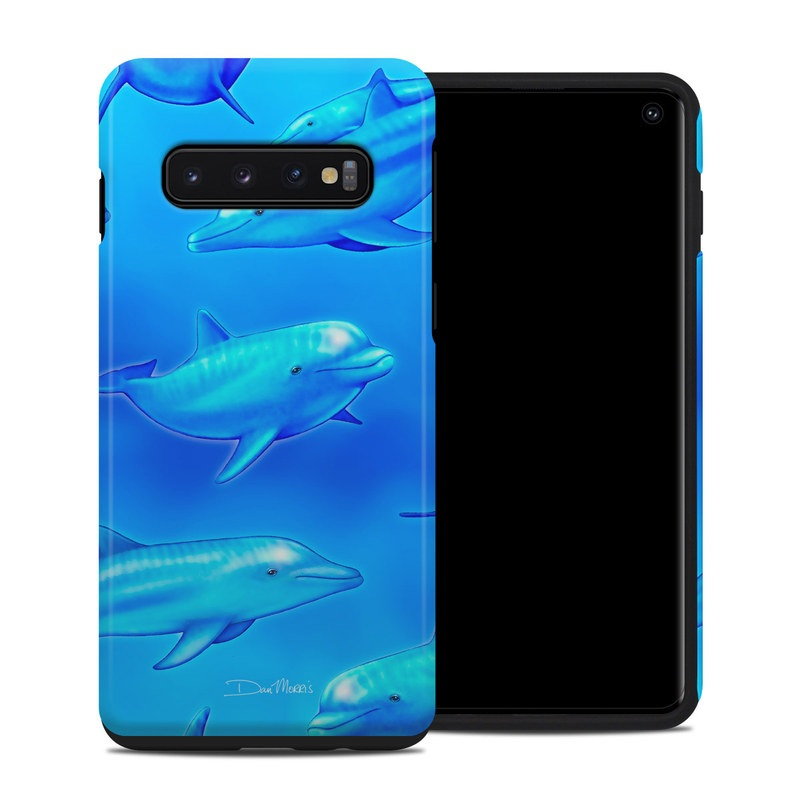 Samsung Galaxy S10 Hybrid Case design of Fin, Marine biology, Fish, Cobalt blue, Blue, Underwater, Marine mammal, Dolphin, Electric blue with blue colors