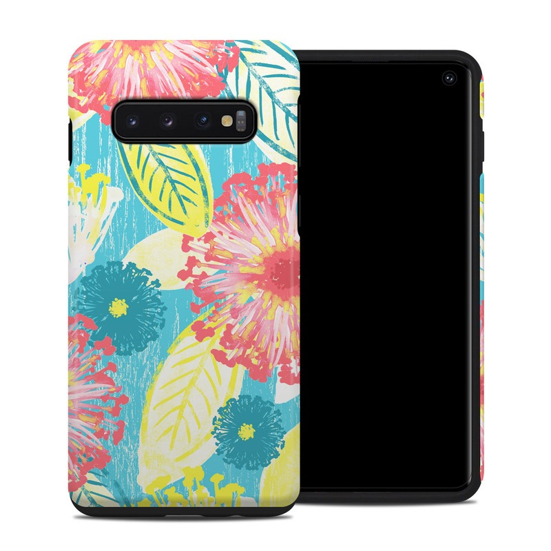 Samsung Galaxy S10 Hybrid Case design of Pattern, Design, Flower, Floral design, Plant, Textile, Wrapping paper, Wildflower, Visual arts with pink, gray, blue, yellow colors