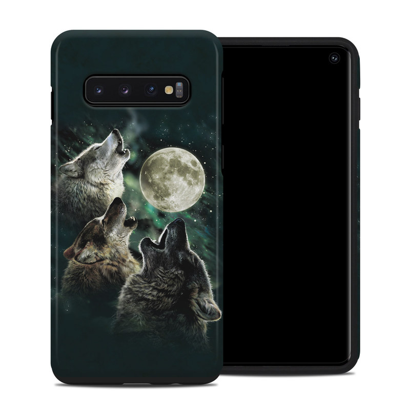 Samsung Galaxy S10 Hybrid Case design of Wolf, Light, Astronomical object, Moon, Wildlife, Organism, Moonlight, Sky, Atmosphere, Celestial event with black, gray, green colors