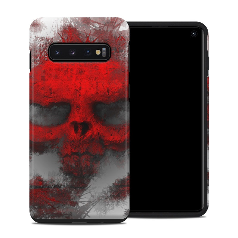 Samsung Galaxy S10 Hybrid Case design of Red, Graphic design, Skull, Illustration, Bone, Graphics, Art, Fictional character with red, gray, black, white colors
