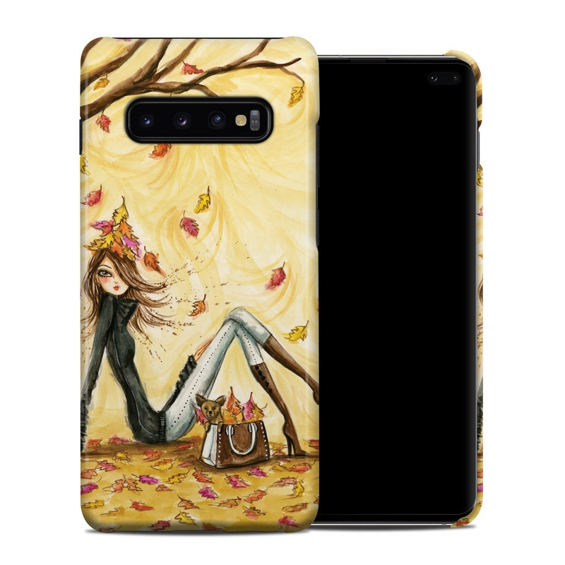 Samsung Galaxy S10 Plus Clip Case design of Painting, Watercolor paint, Tree, Art, Illustration, Plant, Modern art, Visual arts, Still life, Fictional character with yellow, red, brown, orange, black, white colors