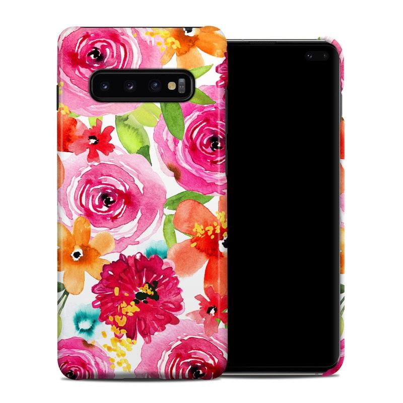 Samsung Galaxy S10 Plus Clip Case design of Flower, Cut flowers, Floral design, Plant, Pink, Bouquet, Petal, Flower Arranging, Artificial flower, Clip art with pink, red, green, orange, yellow, blue, white colors