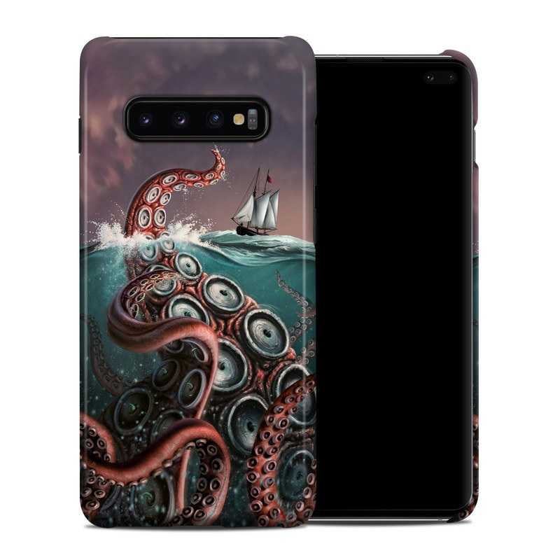 Samsung Galaxy S10 Plus Clip Case design of Octopus, Water, Illustration, Wind wave, Sky, Graphic design, Organism, Cephalopod, Cg artwork, giant pacific octopus with blue, gray, white, brown, red colors