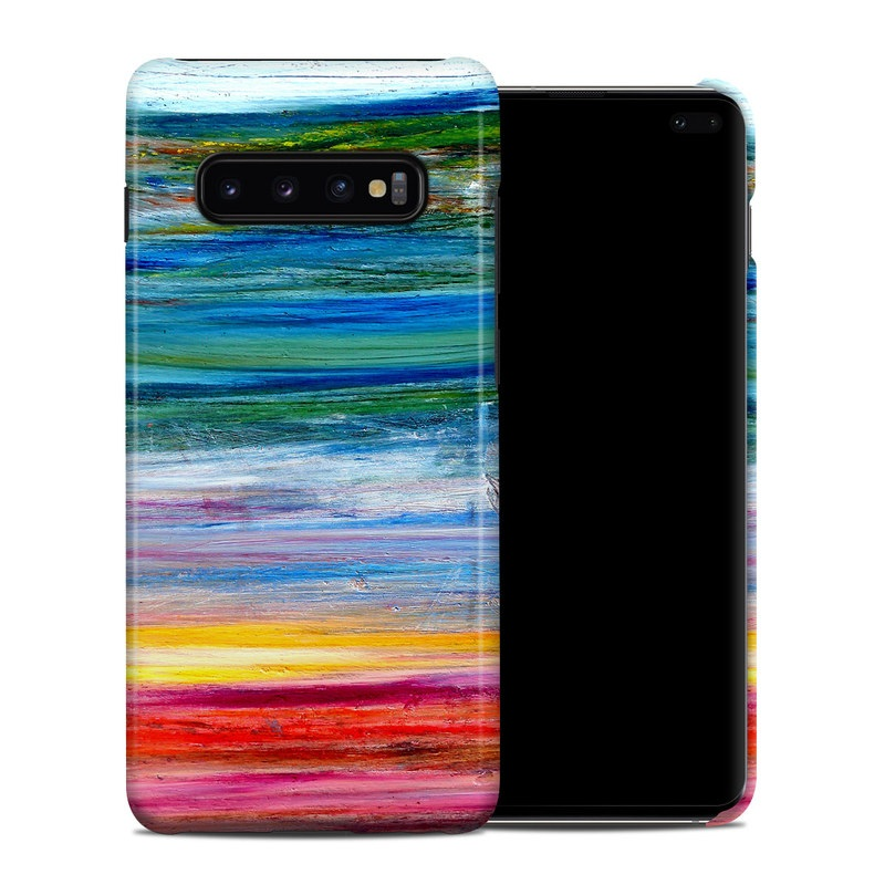 Samsung Galaxy S10 Plus Clip Case design of Sky, Painting, Acrylic paint, Modern art, Watercolor paint, Art, Horizon, Paint, Visual arts, Wave with gray, blue, red, black, pink colors