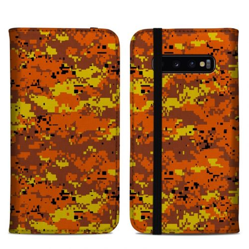 Digital Orange Camo Samsung Galaxy S10 Plus Folio Case