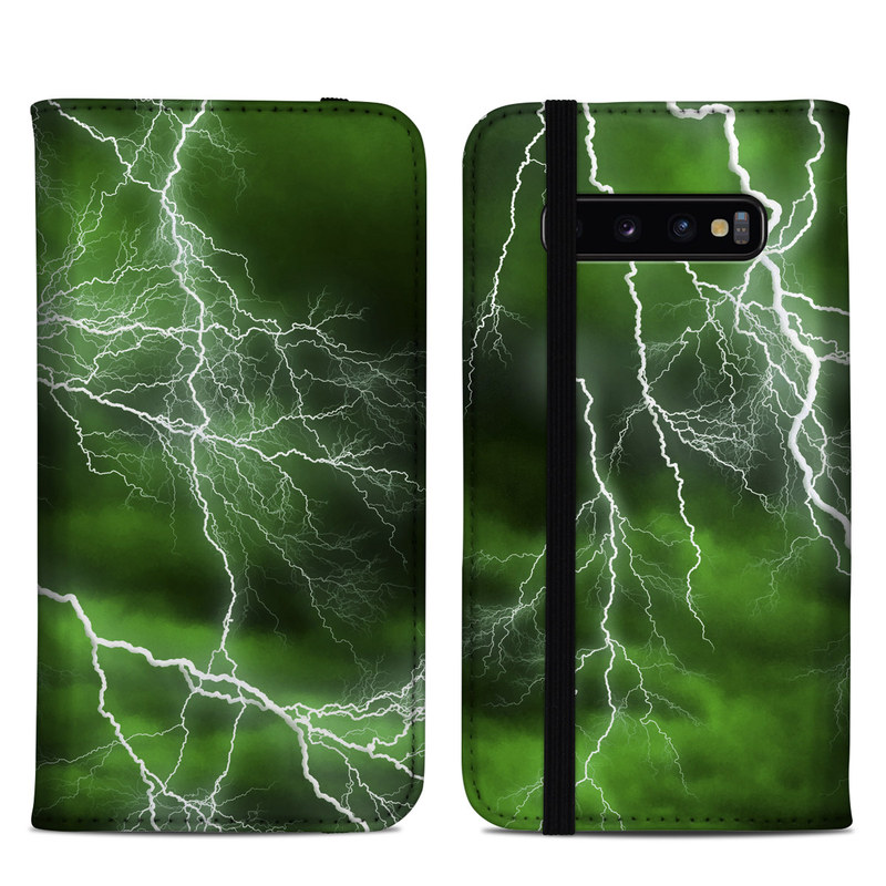 Samsung Galaxy S10 Plus Folio Case design of Thunderstorm, Thunder, Lightning, Nature, Green, Water, Sky, Atmosphere, Atmospheric phenomenon, Daytime with green, black, white colors