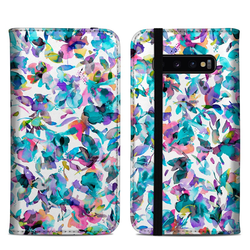 Samsung Galaxy S10 Plus Folio Case design of Pattern, Design, Textile with white, blue, red, purple, pink, orange, yellow colors