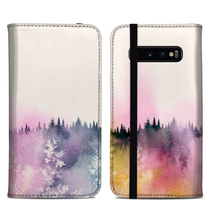 Samsung Galaxy S10 Plus Folio Case design of Watercolor paint, Sky, Atmospheric phenomenon, Tree, Atmosphere, Cloud, Landscape, Forest, Painting, Illustration with white, yellow, pink, purple, blue, black colors