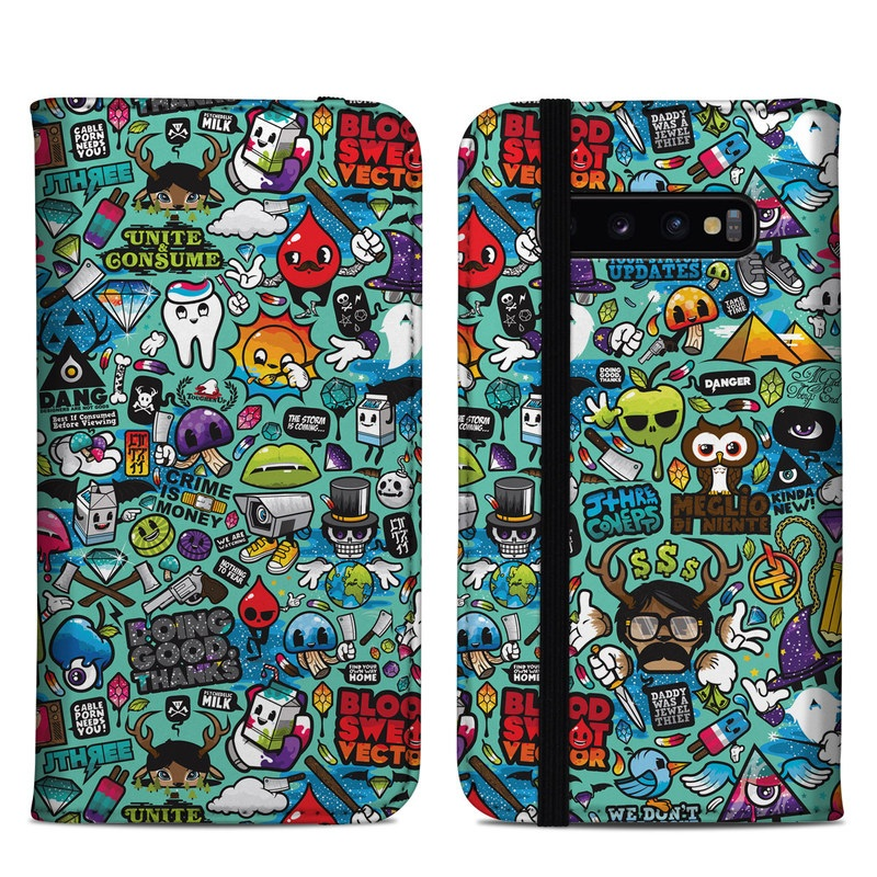 Samsung Galaxy S10 Plus Folio Case design of Cartoon, Art, Pattern, Design, Illustration, Visual arts, Doodle, Psychedelic art with black, blue, gray, red, green colors