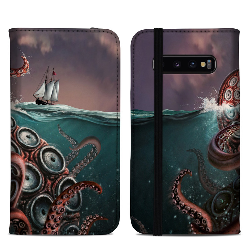 Samsung Galaxy S10 Plus Folio Case design of Octopus, Water, Illustration, Wind wave, Sky, Graphic design, Organism, Cephalopod, Cg artwork, giant pacific octopus with blue, gray, white, brown, red colors
