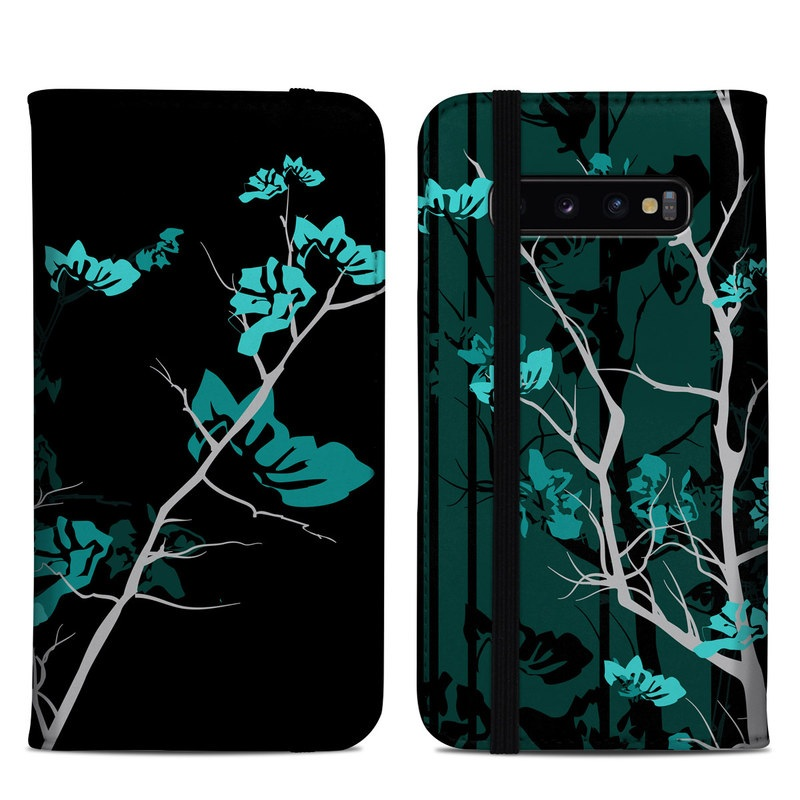Samsung Galaxy S10 Plus Folio Case design of Branch, Black, Blue, Green, Turquoise, Teal, Tree, Plant, Graphic design, Twig with black, blue, gray colors