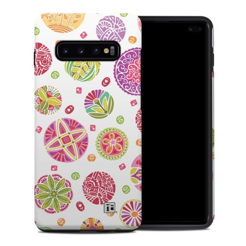 Round Flowers Samsung Galaxy S10 Plus Hybrid Case