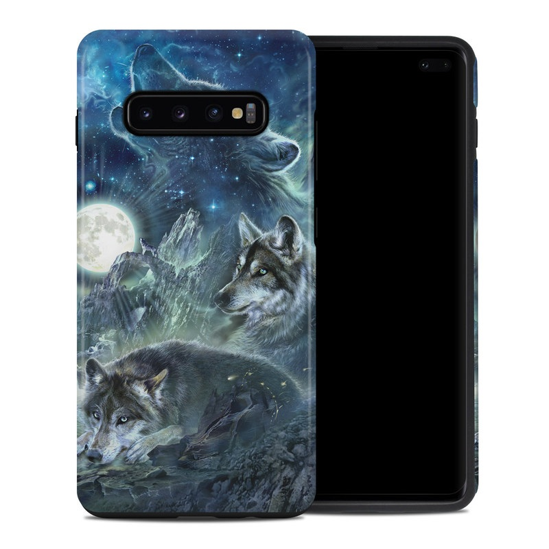 Samsung Galaxy S10 Plus Hybrid Case design of Cg artwork, Fictional character, Darkness, Werewolf, Illustration, Wolf, Mythical creature, Graphic design, Dragon, Mythology with black, blue, gray, white colors