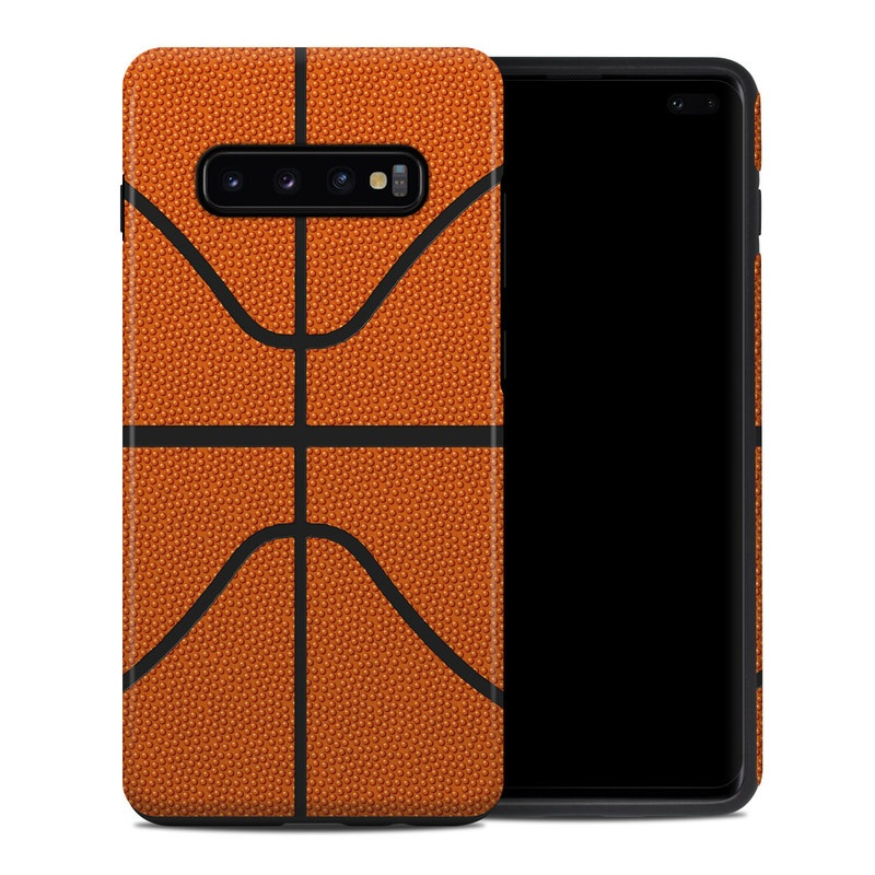 Samsung Galaxy S10 Plus Hybrid Case design of Orange, Basketball, Line, Pattern, Sport venue, Brown, Yellow, Design, Net, Team sport with orange, black colors