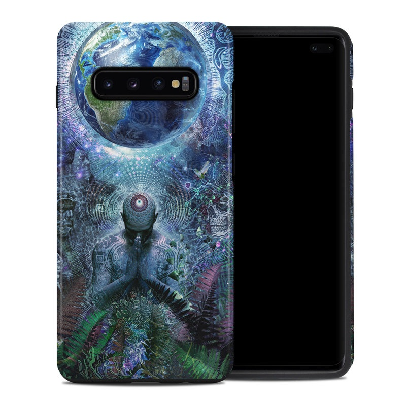Samsung Galaxy S10 Plus Hybrid Case design of Psychedelic art, Fractal art, Art, Space, Organism, Earth, Sphere, Graphic design, Circle, Graphics with blue, green, gray, purple, pink, black, white colors