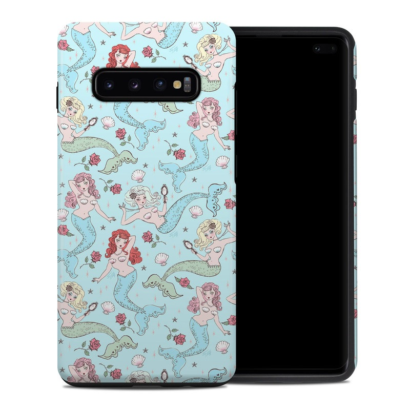 Samsung Galaxy S10 Plus Hybrid Case design of Pattern, Wrapping paper, Aqua, Teal, Turquoise, Wallpaper, Textile, Design, Pedicel, Motif with blue, yellow, red, white, green colors